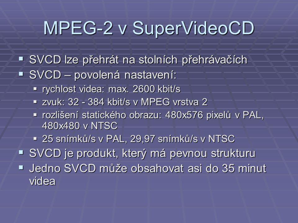 MPEG-2 v SuperVideoCD SVCD lze přehrát na stolních přehrávačích