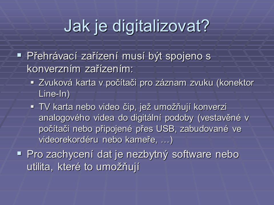 Jak je digitalizovat Přehrávací zařízení musí být spojeno s konverzním zařízením: Zvuková karta v počítači pro záznam zvuku (konektor Line-In)
