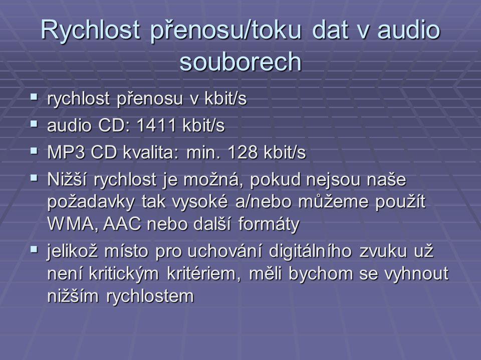 Rychlost přenosu/toku dat v audio souborech