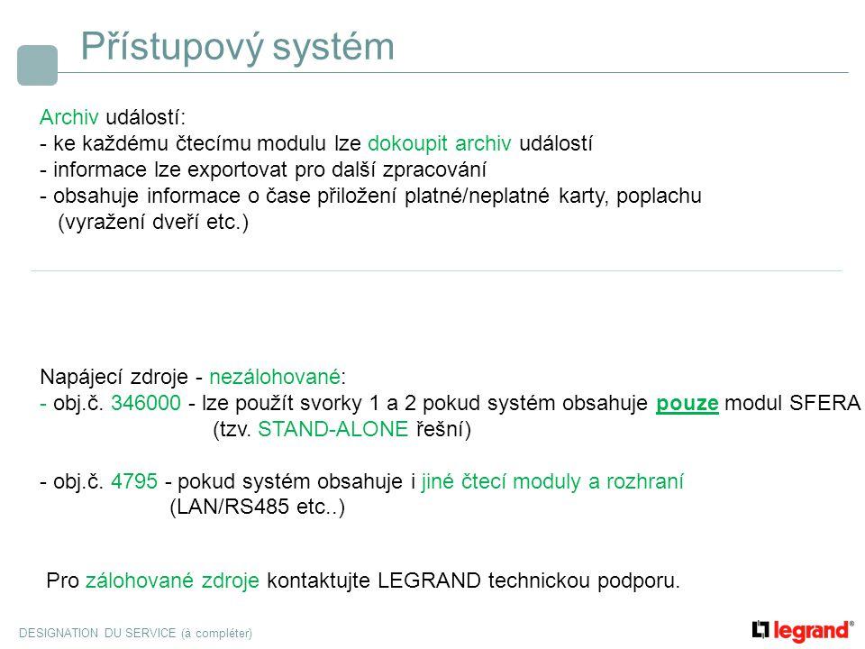Přístupový systém Archiv událostí:
