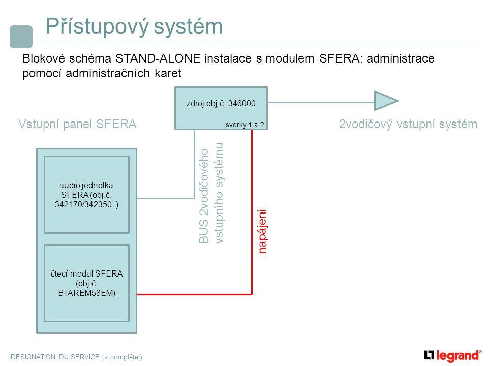 Přístupový systém Blokové schéma STAND-ALONE instalace s modulem SFERA: administrace pomocí administračních karet.