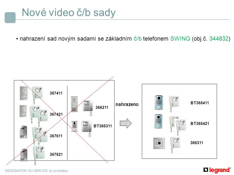 Nové video č/b sady nahrazení sad novým sadami se základním č/b telefonem SWING (obj.č. 344832) 367411.
