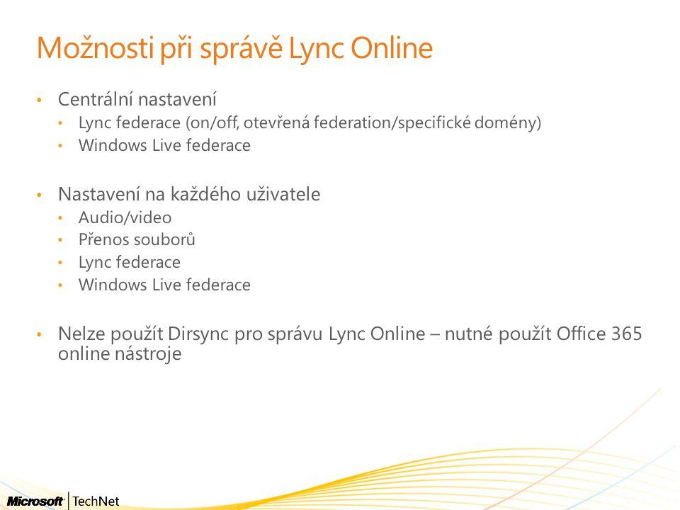 Možnosti při správě Lync Online