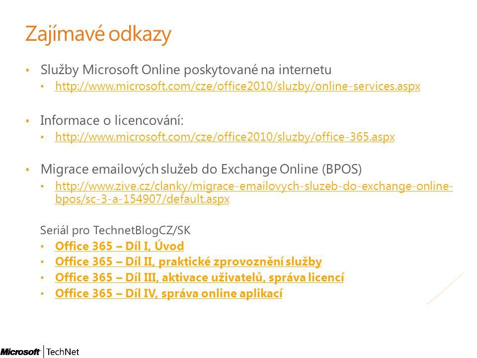 Zajímavé odkazy Služby Microsoft Online poskytované na internetu