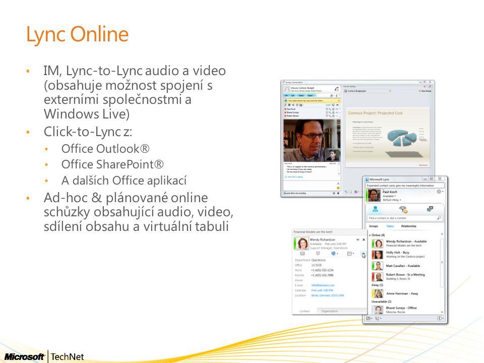 Lync Online IM, Lync-to-Lync audio a video (obsahuje možnost spojení s externími společnostmi a Windows Live)