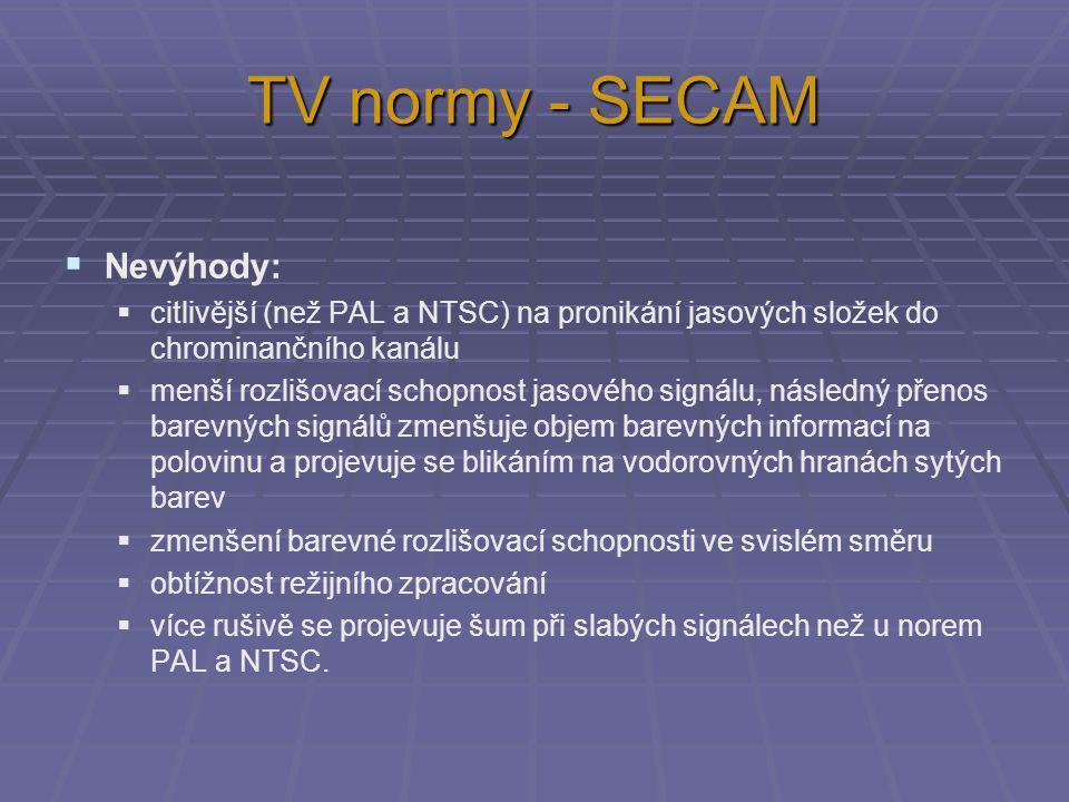 TV normy - SECAM Nevýhody: