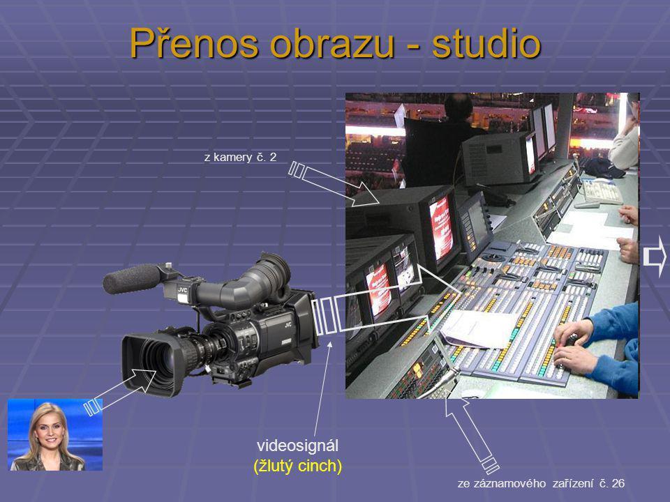 Přenos obrazu - studio videosignál (žlutý cinch) z kamery č. 2