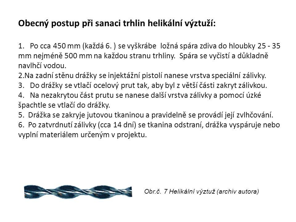 Obecný postup při sanaci trhlin helikální výztuží: