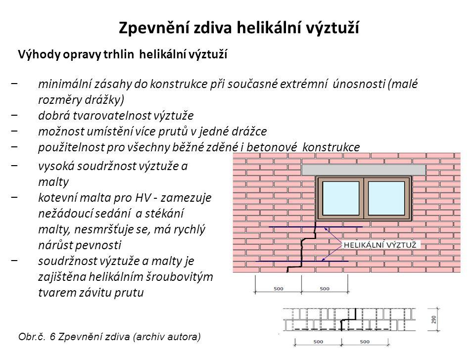 Zpevnění zdiva helikální výztuží