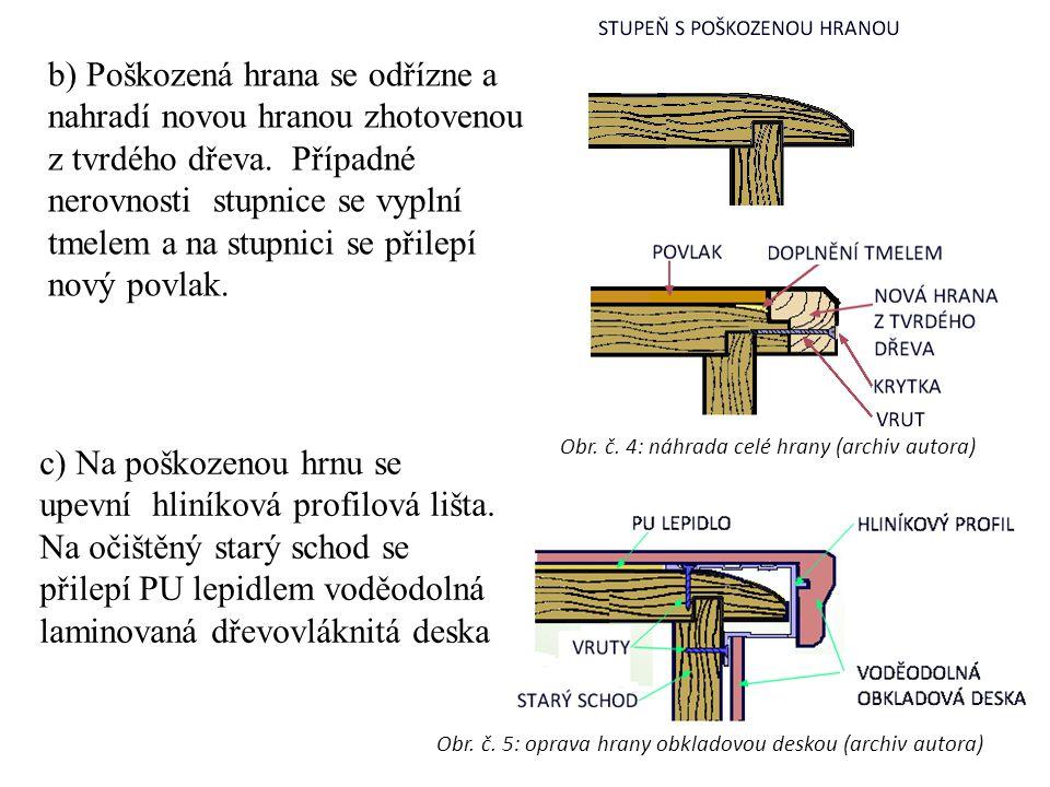 c) Na poškozenou hrnu se upevní hliníková profilová lišta.
