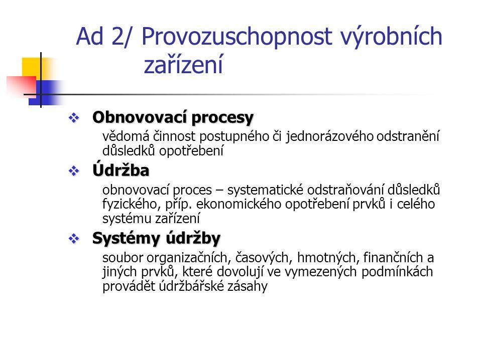 Ad 2/ Provozuschopnost výrobních zařízení