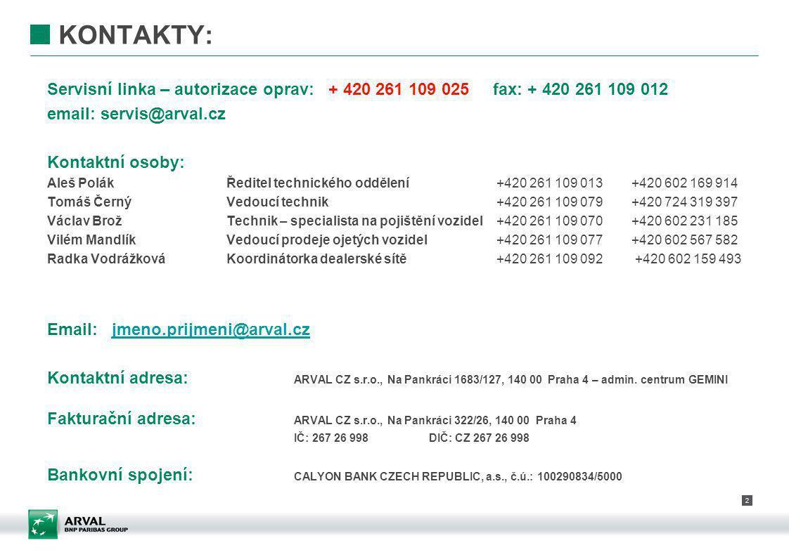 KONTAKTY: Servisní linka – autorizace oprav: + 420 261 109 025 fax: + 420 261 109 012. email: servis@arval.cz.