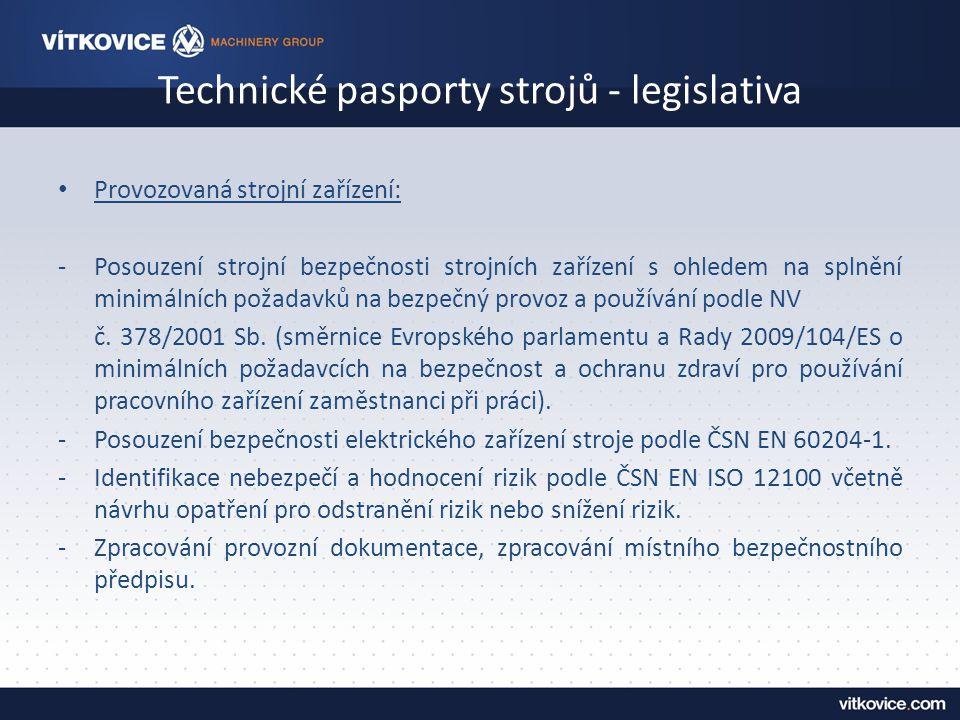 Technické pasporty strojů - legislativa