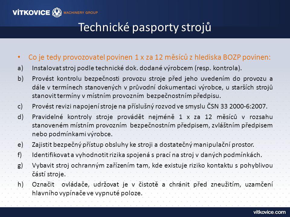 Technické pasporty strojů