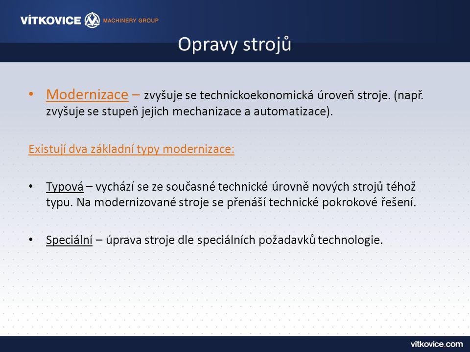 Opravy strojů Modernizace – zvyšuje se technickoekonomická úroveň stroje. (např. zvyšuje se stupeň jejich mechanizace a automatizace).
