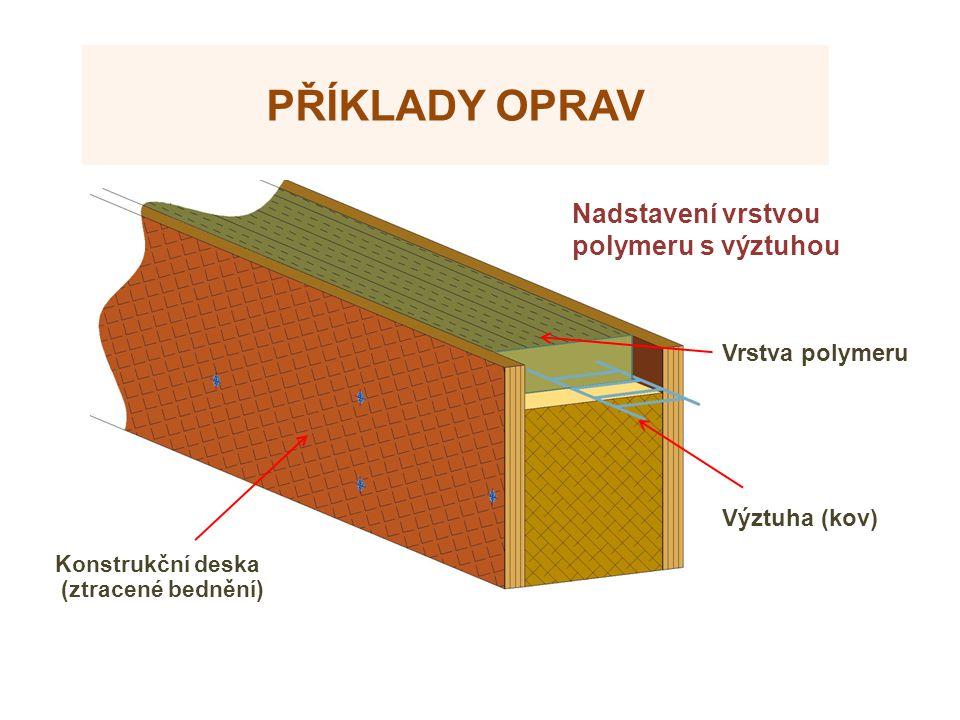 Příklady oprav Nadstavení vrstvou polymeru s výztuhou Zdroje