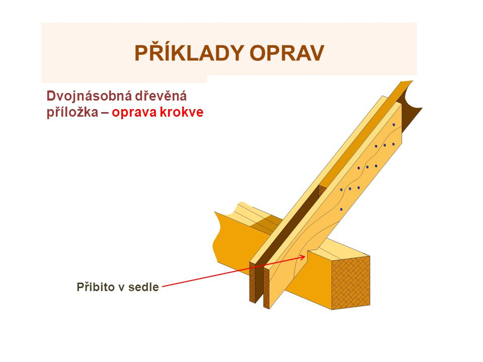 Příklady oprav Dvojnásobná dřevěná příložka – oprava krokve Zdroje