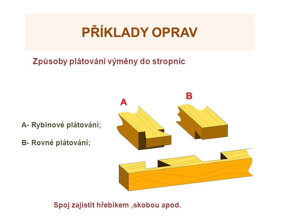 Příklady oprav Způsoby plátování výměny do stropnic Zdroje