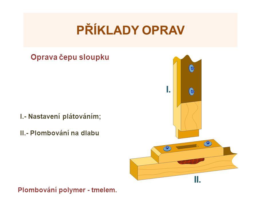 Příklady oprav I. II. Oprava čepu sloupku Zdroje