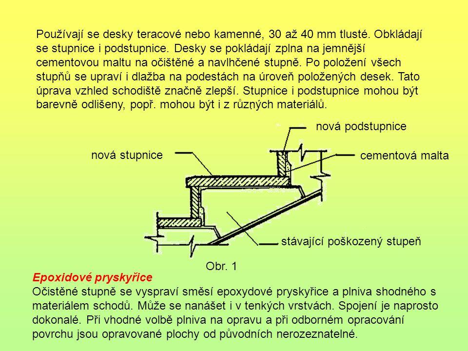 Používají se desky teracové nebo kamenné, 30 až 40 mm tlusté