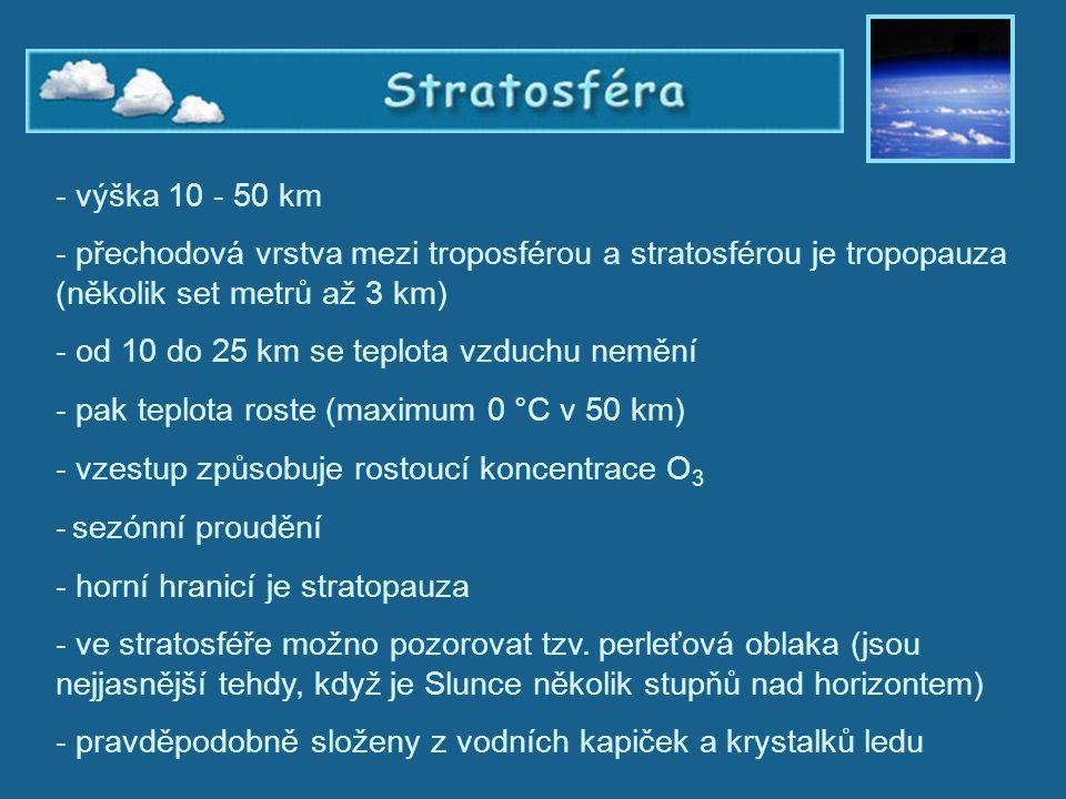 od 10 do 25 km se teplota vzduchu nemění
