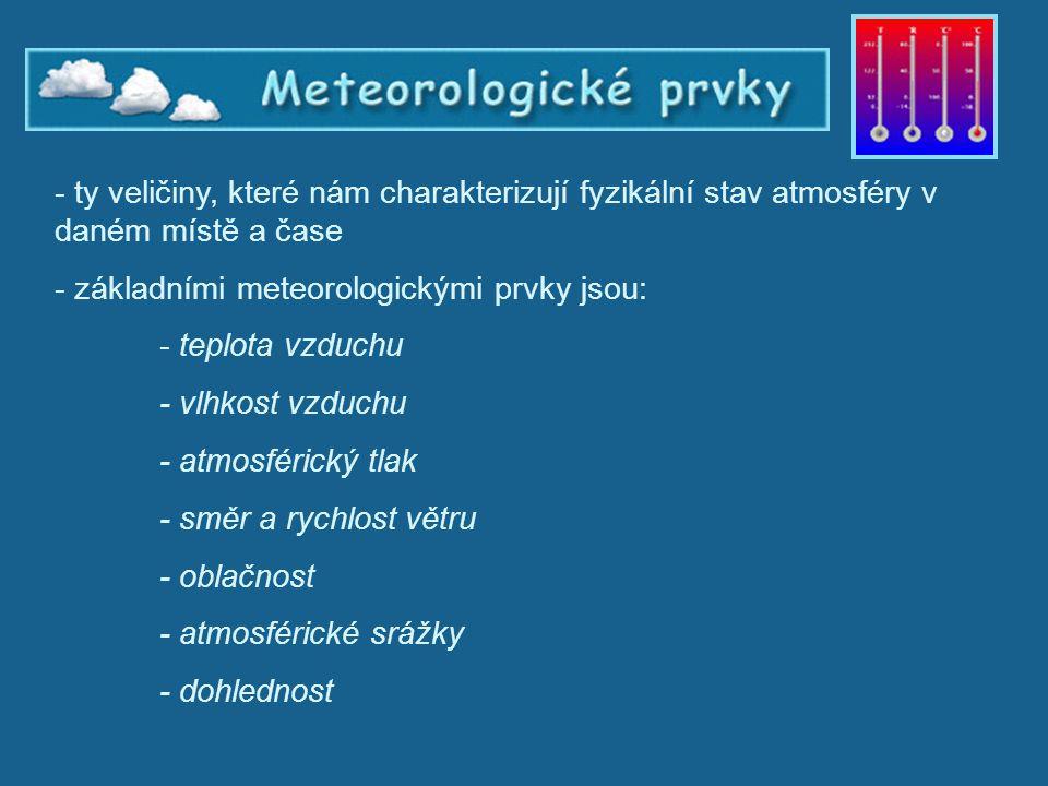 základními meteorologickými prvky jsou: - teplota vzduchu