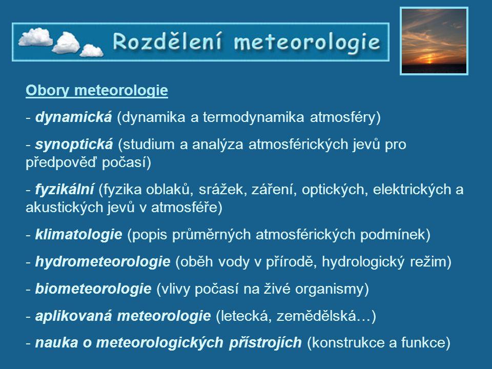 Rozdělení meteorologie
