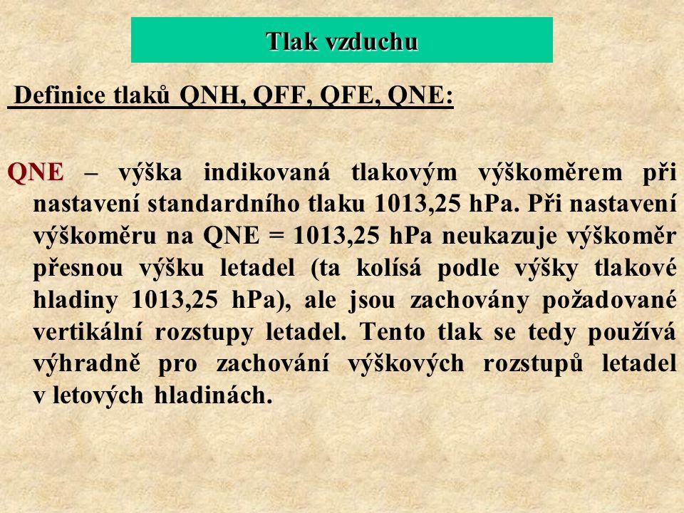 Tlak vzduchu Definice tlaků QNH, QFF, QFE, QNE: