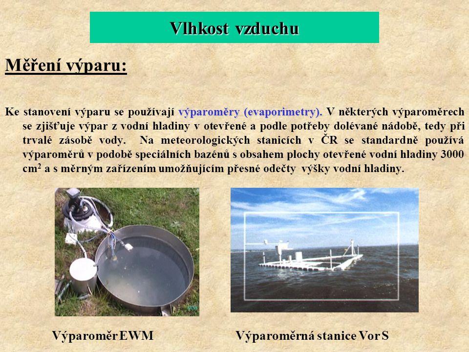 Vlhkost vzduchu Měření výparu: Výparoměr EWM Výparoměrná stanice Vor S