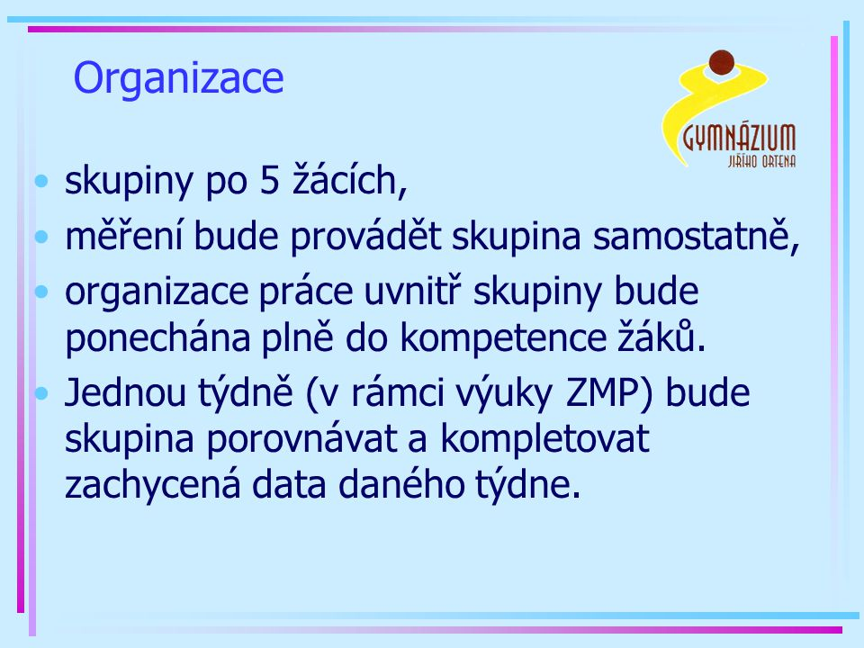 Organizace skupiny po 5 žácích,