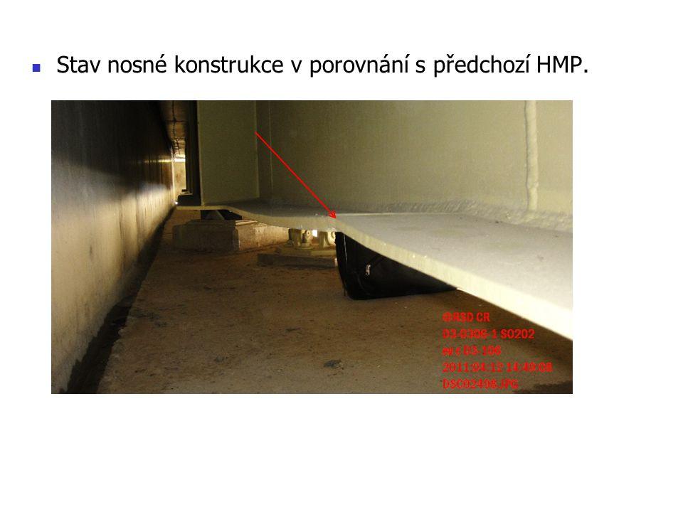 Stav nosné konstrukce v porovnání s předchozí HMP.