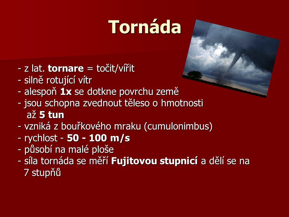 Tornáda - z lat. tornare = točit/vířit - silně rotující vítr