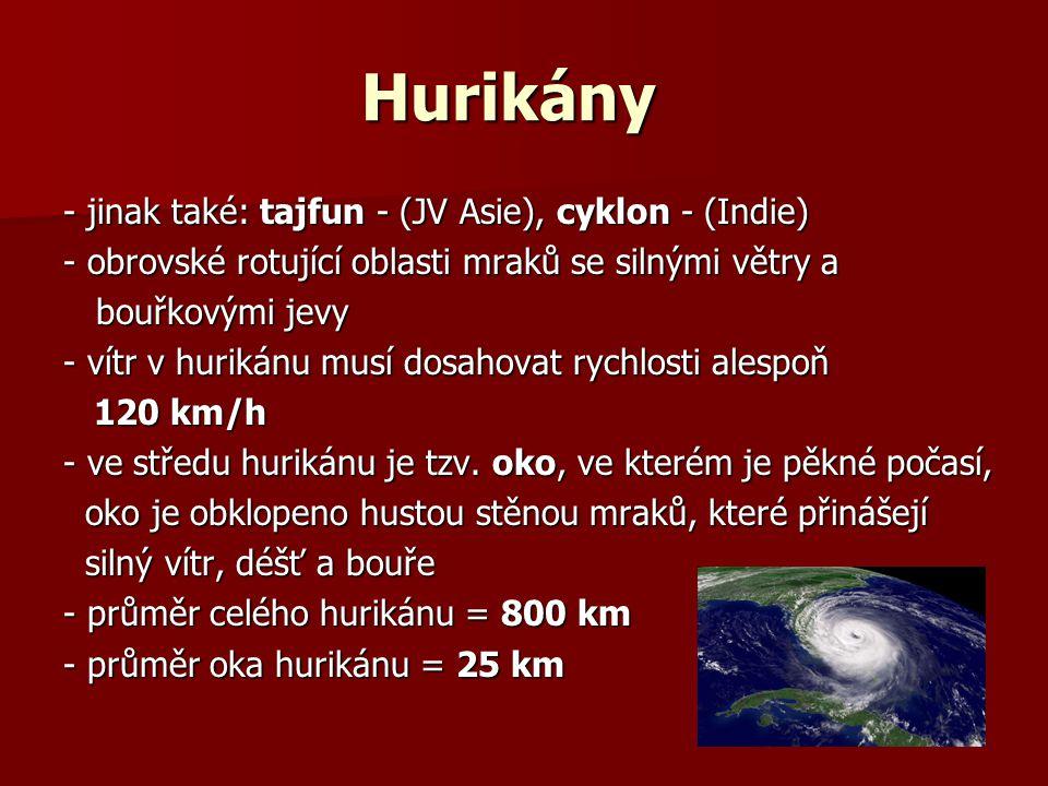 Hurikány - jinak také: tajfun - (JV Asie), cyklon - (Indie)