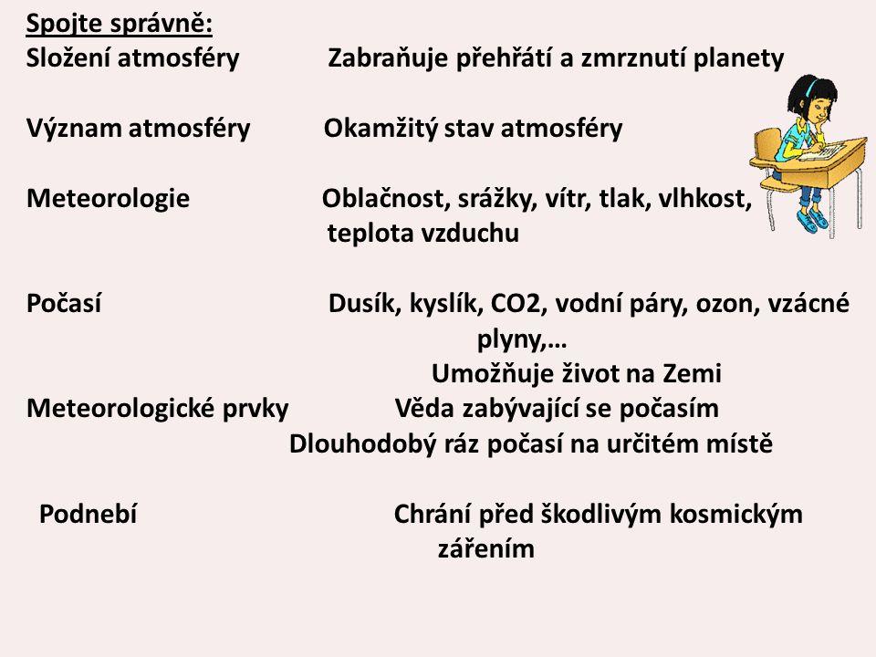 Spojte správně: Složení atmosféry Zabraňuje přehřátí a zmrznutí planety. Význam atmosféry Okamžitý stav atmosféry.