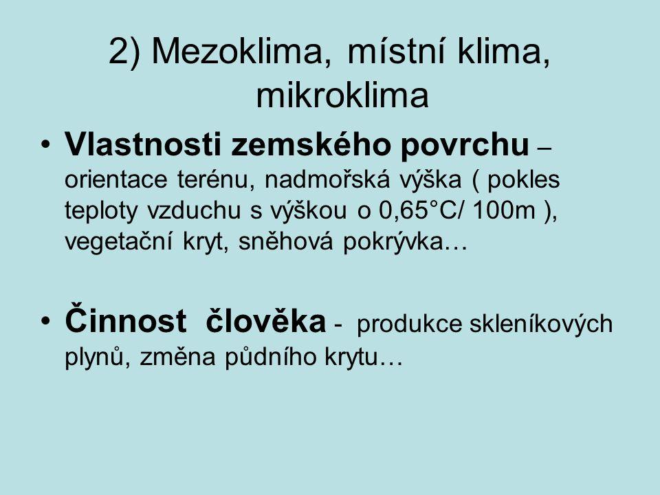 2) Mezoklima, místní klima, mikroklima
