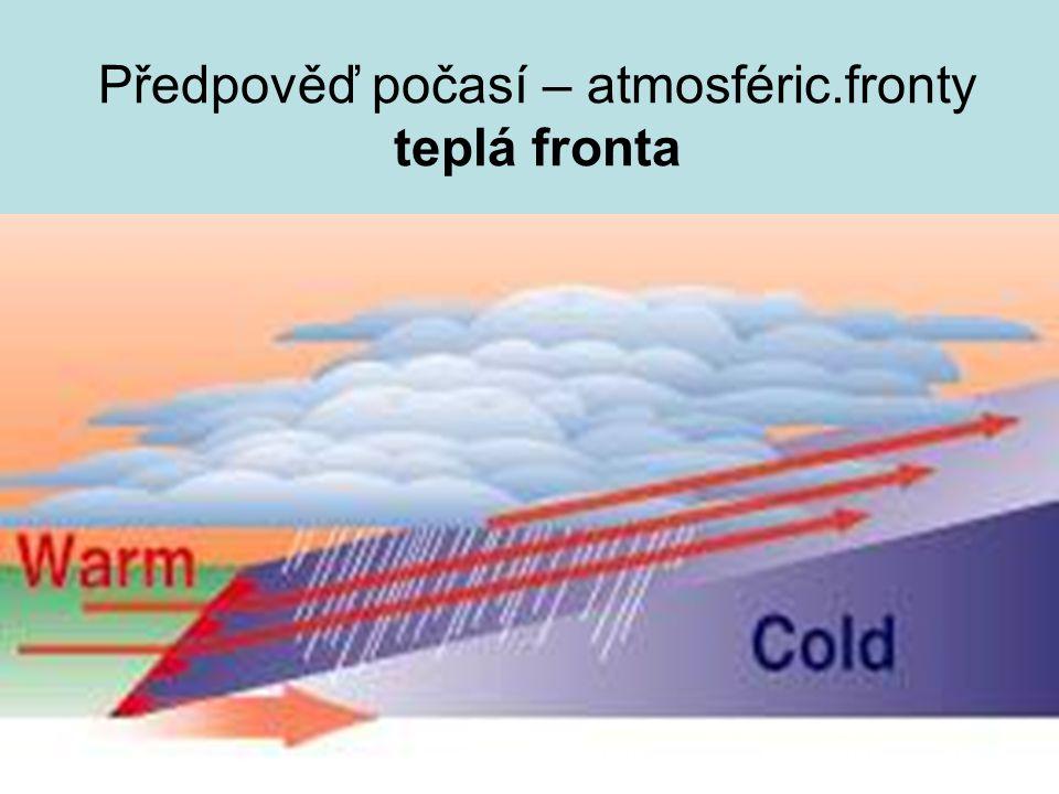 Předpověď počasí – atmosféric.fronty teplá fronta