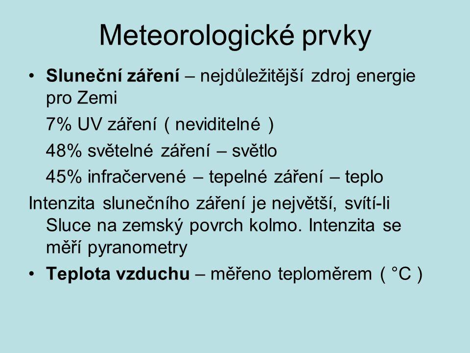 Meteorologické prvky Sluneční záření – nejdůležitější zdroj energie pro Zemi. 7% UV záření ( neviditelné )