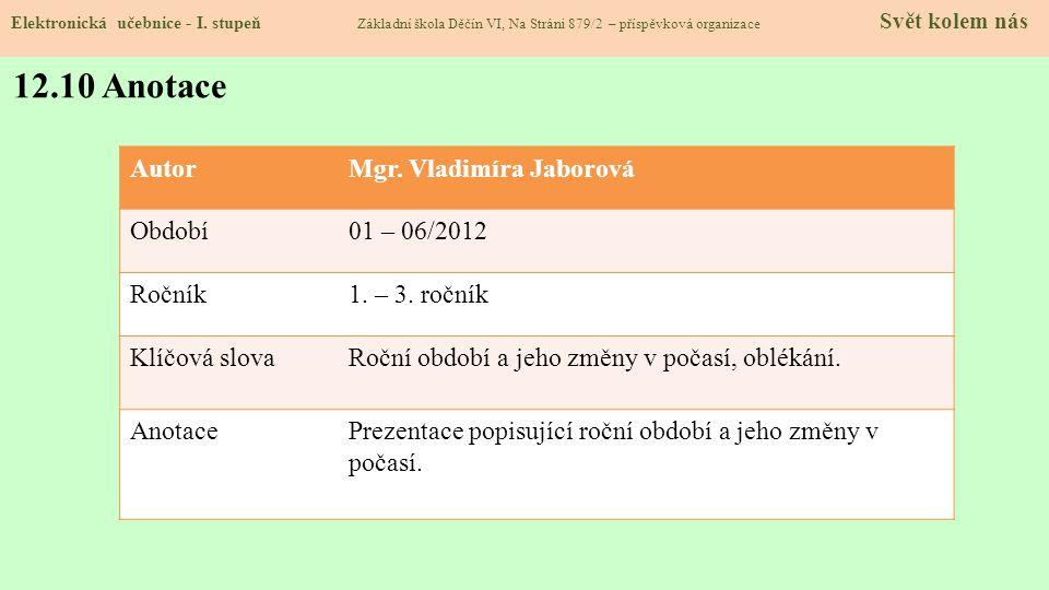 12.10 Anotace Autor Mgr. Vladimíra Jaborová Období 01 – 06/2012 Ročník