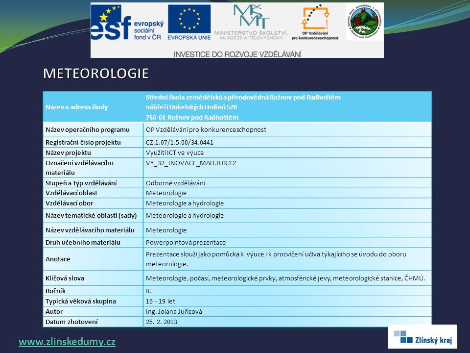 METEOROLOGIE www.zlinskedumy.cz Název a adresa školy