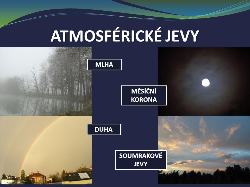 ATMOSFÉRICKÉ JEVY MLHA MĚSÍČNÍ KORONA DUHA SOUMRAKOVÉ JEVY