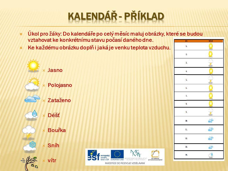 KALENDÁŘ - PŘÍKLAD Úkol pro žáky: Do kalendáře po celý měsíc maluj obrázky, které se budou vztahovat ke konkrétnímu stavu počasí daného dne.