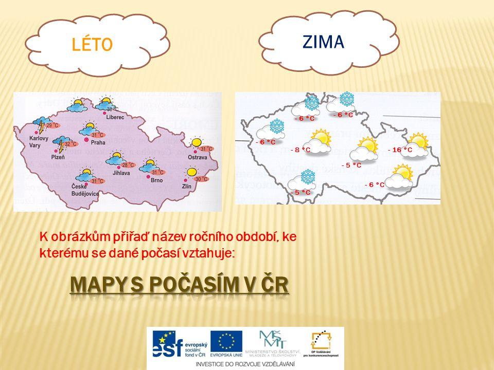 MAPY S POČASÍM V ČR ZIMA LÉTO