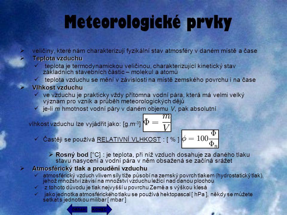 Meteorologické prvky veličiny, které nám charakterizují fyzikální stav atmosféry v daném místě a čase.