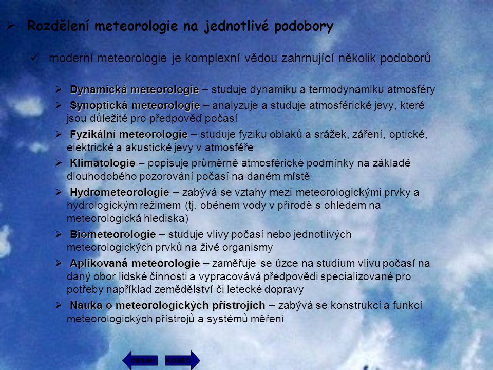 Rozdělení meteorologie na jednotlivé podobory