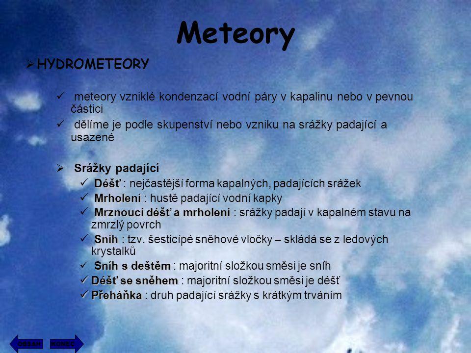 Meteory HYDROMETEORY. meteory vzniklé kondenzací vodní páry v kapalinu nebo v pevnou částici.