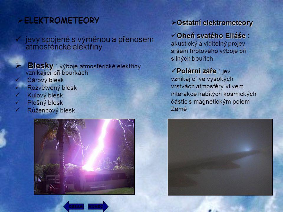 jevy spojené s výměnou a přenosem atmosférické elektřiny