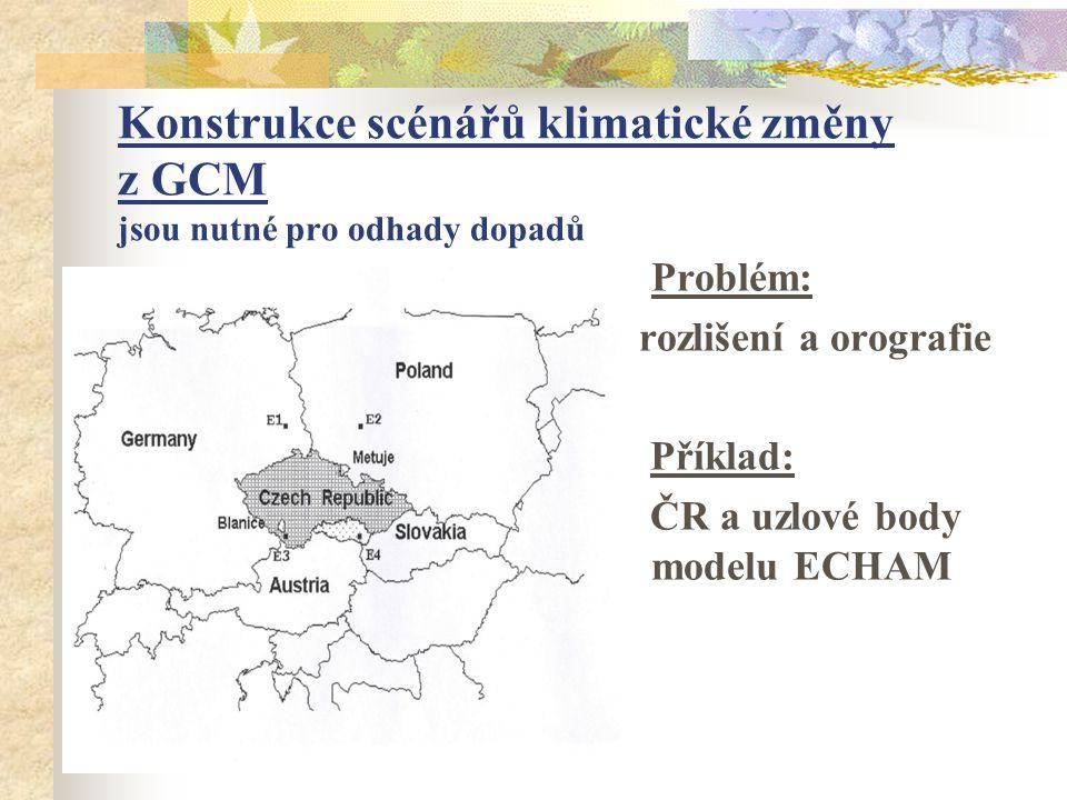 Konstrukce scénářů klimatické změny z GCM jsou nutné pro odhady dopadů