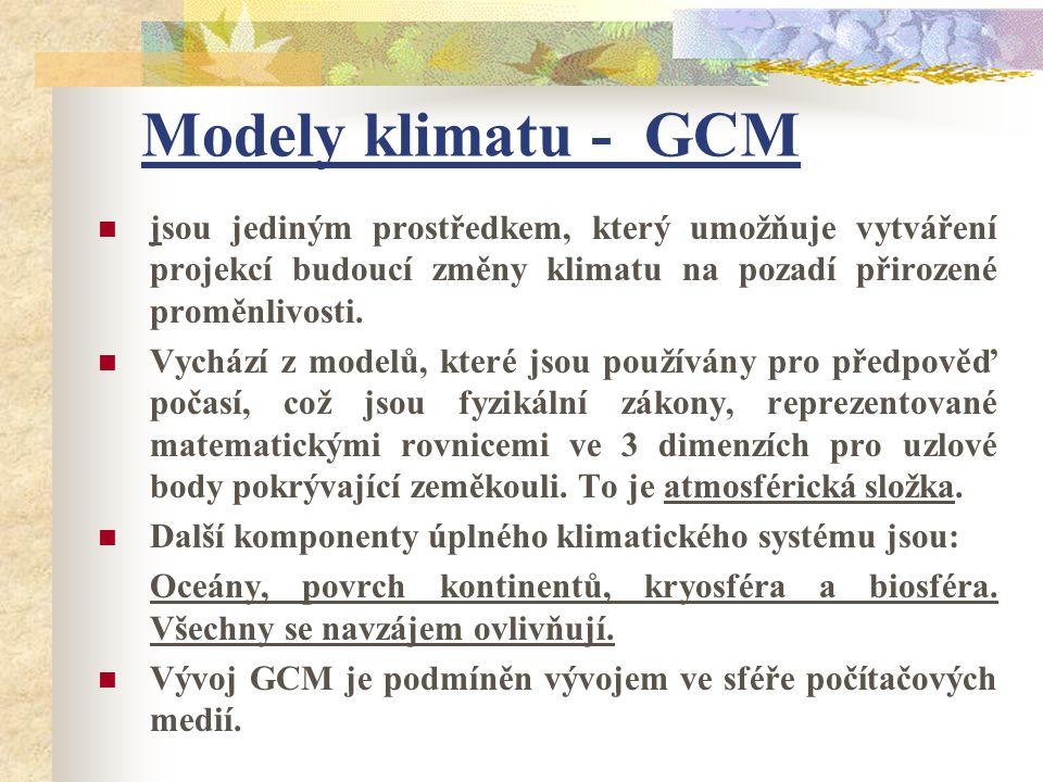 Modely klimatu - GCM jsou jediným prostředkem, který umožňuje vytváření projekcí budoucí změny klimatu na pozadí přirozené proměnlivosti.