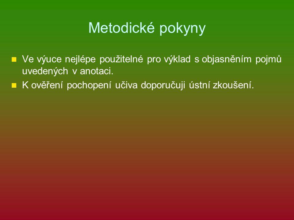 Metodické pokyny Ve výuce nejlépe použitelné pro výklad s objasněním pojmů uvedených v anotaci.