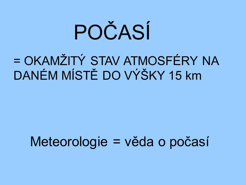 POČASÍ Meteorologie = věda o počasí